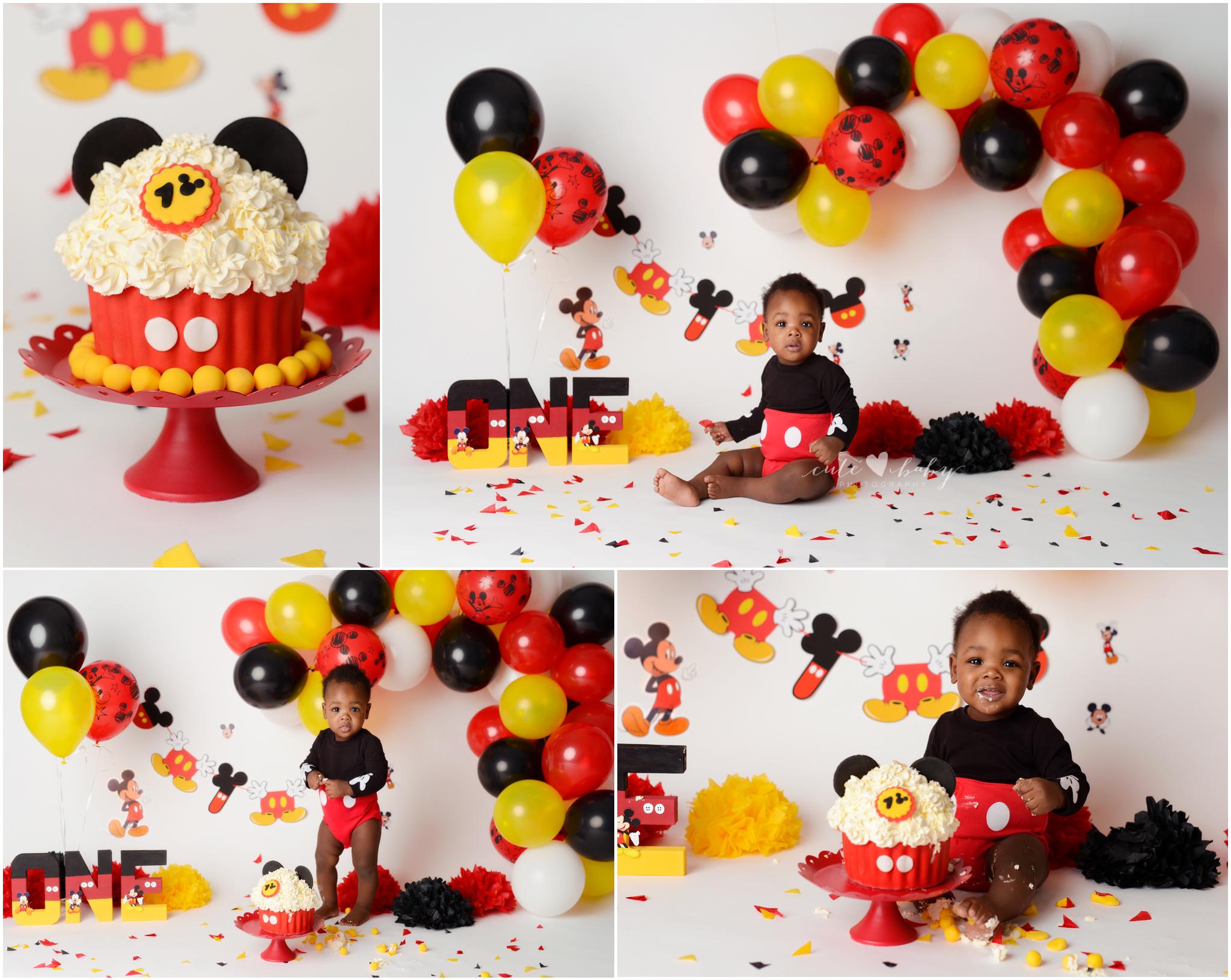 cake smash Manchester, Baby Photography Manchester, 1st Birthday photography, Cake Smash Mickey Mouse